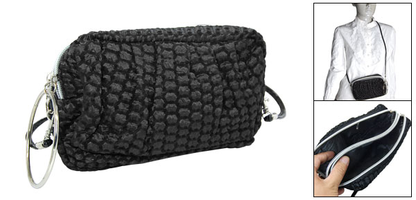 Travel Portable Makeup Black Purse Cosmetic Bag w Shoulder Strap