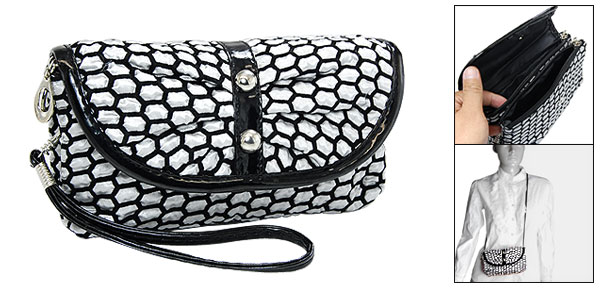 Hex Makeup Cosmetic Flap Bag Zippers Fabric Purse Gray Black