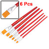 6 PCS Red Wood Handle Painting Brushes Paintbrush Drawing tool