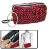 Red Black Hexagon Fabric Makeup Cosmetic Bag Zippers Purse
