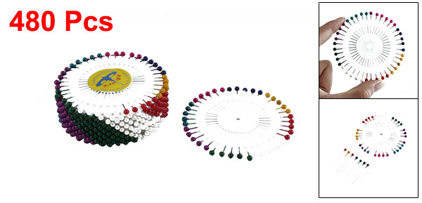 Round Decorative Straight Head Pins Assorted Color 1.5 Inch Long 480 PCS