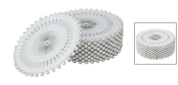 Imitation Pearl Decor 3mm Manmade Straight Head Pins White 1.5 Inch Long 480pcs