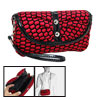Red Black Fabric Makeup Cosmetic Hand Shoulder Bag Purse