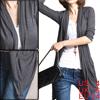 Ladies Drak Gray 3/4 Sleeves Open Front Cardigan Top S
