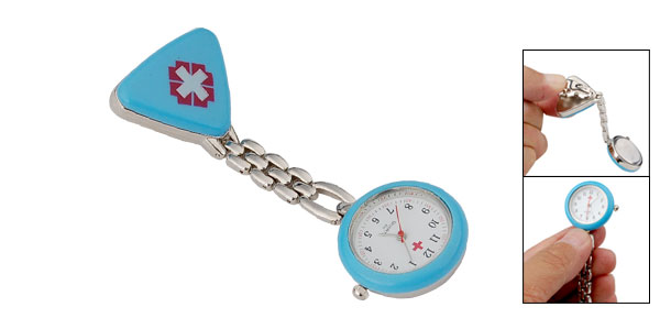 Metal Clip Maya Blue Nurse Quartz Watch w Cross Pattern