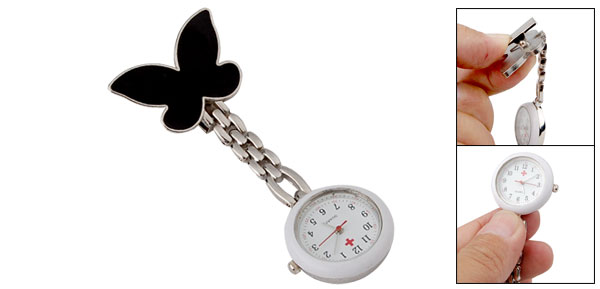 Metal Cilp White & Black Nurse Quartz Watch w Butterfly Pattern