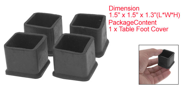 4 PCS Black Rubber Square Table Chair Foot Cover Holder