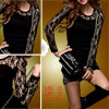 Ladies Black Lace Long Sleeve Shirt Round Neck Top XS