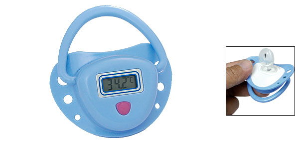 Blue Water Resistant LCD Baby Nipple Temp Thermometer