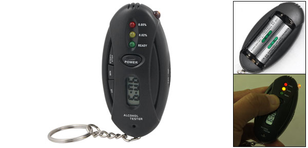 Breath Alcohol Tester Clock Timer Flashlight Key Chain