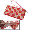 Faux Leather Portable Square Print Bag for Smartphone Red White
