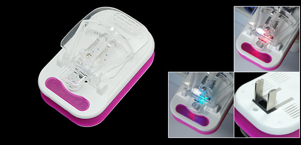 US Plug AC 110-220V Portable Travel Universal Li-ion Battery Charger Fuchsia White
