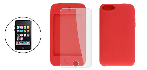 Red Silicone Skin Case + LCD Screen Protector for iPod Touch 3G