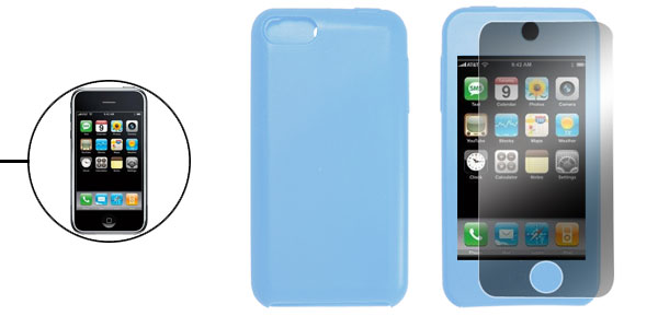 Baby Blue Silicone Skin Cover + Screen Guard for iPod Touch 3rd Generation