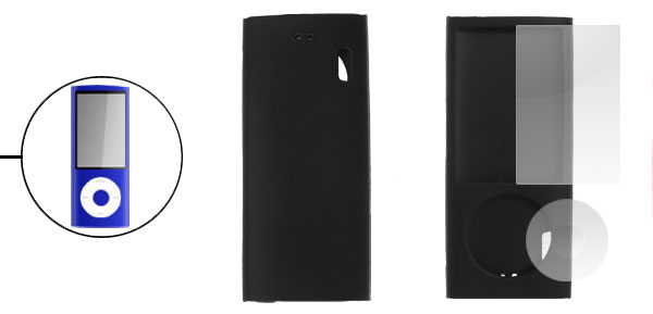 Soft Silicone Cover w Screen Protector for iPod Nano 5G Black