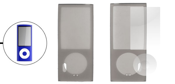 Gray Silicone Skin Case + LCD Screen Guard for iPod Nano 5th Generation