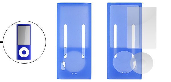 Blue Silicone Case + LCD Screen Guard for iPod Nano 5th Gen