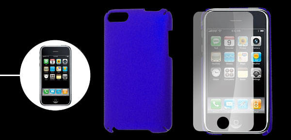 Royal Blue Plastic Back Guard w Screen Guard for iPod Touch 3rd Gen