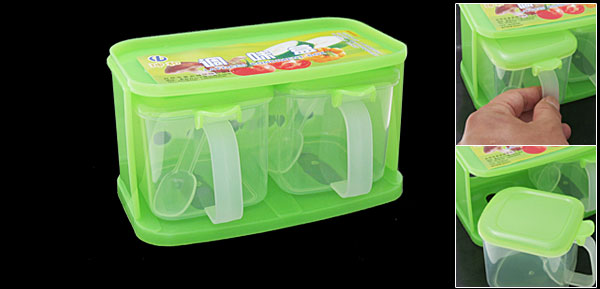 2 Section Spices Condiment Container Box Kitchen Ware Green
