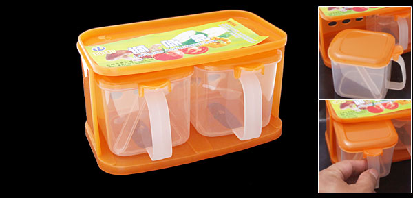 2 in 1 Plastic Condiment Dispenser Spices Box Kitchen Ware Orange