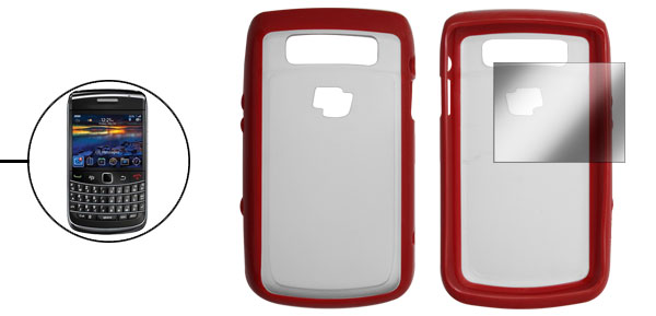 Red Clear Plastic Back Case + Screen Guard for Blackberry 9700