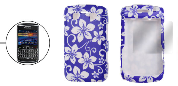 White Floral Blue Plastic Case Screen Guard for BB Bold 9700