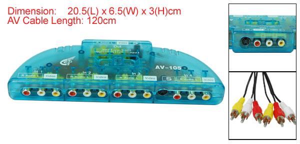 Clear Blue AV-105 4 Input-1 Output Signal Converter Multi Selector Box