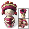 Dark Magenta Chinese Minority Woman Costume Wooden Doll