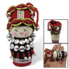 Dark Red Magnetic Chinese Minority Woman Costume Wooden Doll