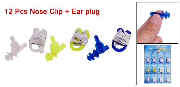 12 Pcs Tricolor Protector Plastic Nose Clip + Earplug Set for Swimming