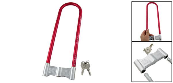 U Style Red Silver Tone Lock for Bicycle Motorbike w 2 Keys