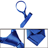 2 Inch Wide Solid Blue Satin Polyester Neck Tie Necktie for Men