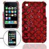 Rhombus Antislip Red Glittery Back Cover for iPhone 3G