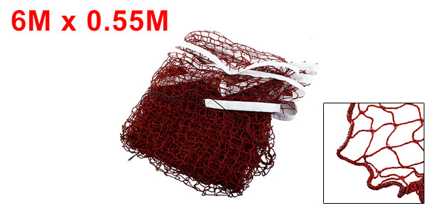 Dark Red 6 x 0.55 Meter Size Nylon Badminton Net