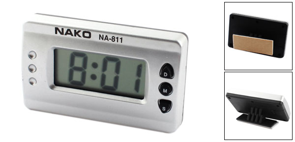 Silver Tone Digital LCD Desk Time Clock for Car Home