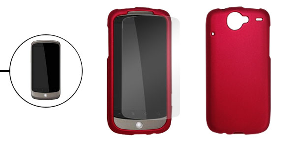 Deep Red Rubberized Plastic Case Cover for Google Nexus One