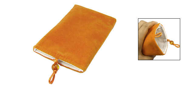 Camera MP3 MP4 Soft Plush Top Entry Design Pouch Orange