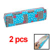 Students Zipper Closure Sky Blue w Flower Print Pen Bag 2pcs