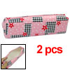 Students Zipper Closure Pink w Flower Print Pen Bag 2pcs