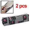 Students Zipper Closure Black w Flower Print Pen Bag 2pcs