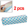 Faux Leather Sky Blue Lattice Zipper Closure Pen Bag 2pcs