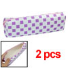 Faux Leather Purple Lattice Zipper Closure Pen Bag 2pcs