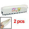 Faux Leather Nylon Off White Zipper Closure Pen Bag 2pcs