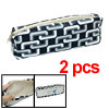 Faux Leather Zipper Closure Pencil Black White Case Bag 2pcs