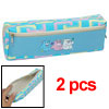 Faux Leather Zipper Closure Pencil Sky Blue Case Bag 2pcs