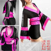 Hot Pink Hem Waistbelt Long Sleeves Sleepwear Black M