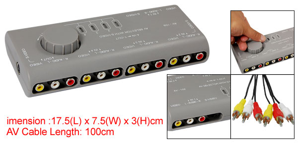 Gray Audio-Vedio Signal Switcher 4 Input 1 Output Selector with S-Video Port