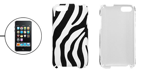 Black Corduroy White Faux Leather Candy Strip Case Shell for iPod Touch 3G