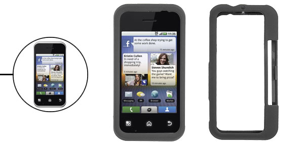 For Motorola MB300 Black Rubberized Cover Protector