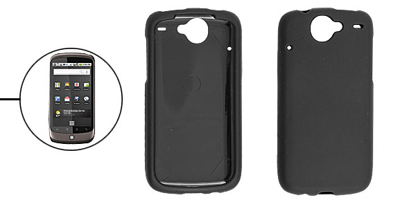 Black Rubberized Heart Hard Plastic Case Cover for Google Nexus One